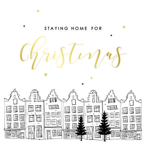 Kerstkaart staying home for Christmas illustratie